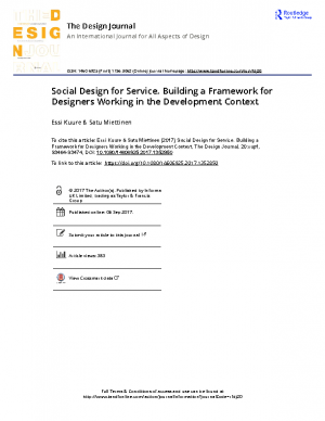 Social Design for Service Building a Framework for Designers Working in the Development Context