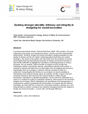 Seeking stronger plurality Intimacy and integrity in designing for social innovation_removed